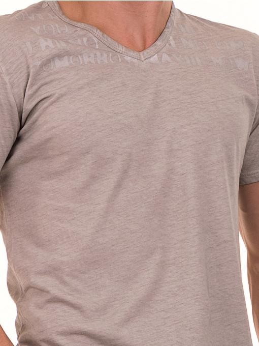 Мъжка тениска с V-образно деколте BLUE PETROL 3119 - светло бежова D