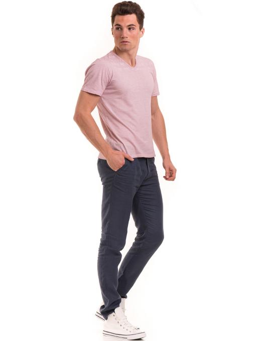 Мъжка тениска с V-образно деколте BLUE PETROL 3119 - розова C