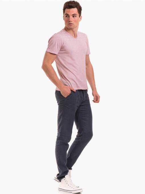 Класически мъжки ленен панталон XINT 484 - син C3