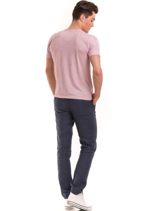 Мъжка тениска с V-образно деколте BLUE PETROL 3119 - розова E