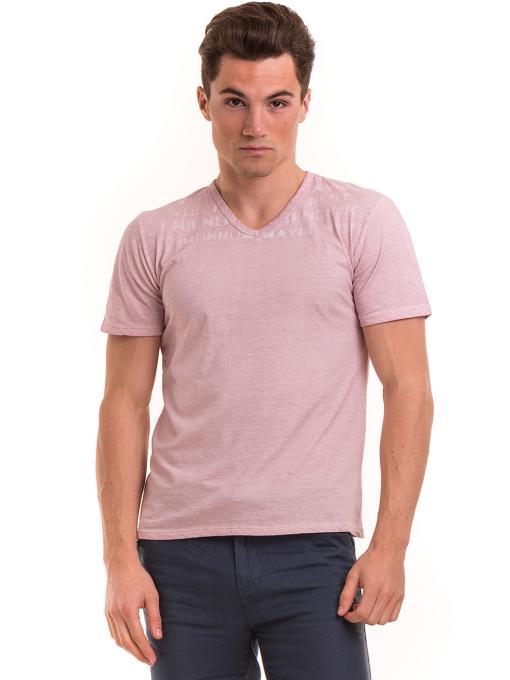 Мъжка тениска с V-образно деколте BLUE PETROL 3119 - розова
