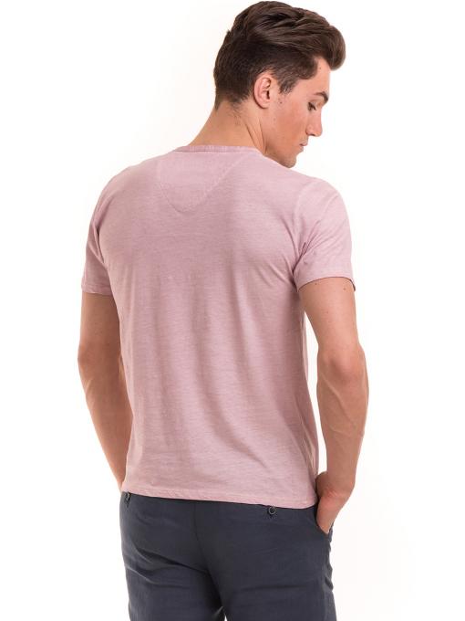 Мъжка тениска с V-образно деколте BLUE PETROL 3119 - розова B