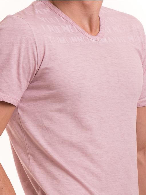 Мъжка тениска с V-образно деколте BLUE PETROL 3119 - розова D