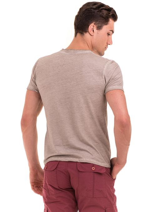 Мъжка блуза с V-образно деколте BLUE PETROL 3120 - светло бежова B