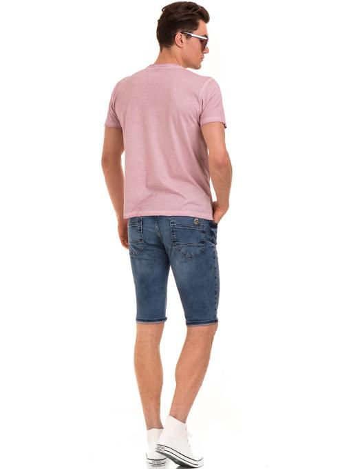 Мъжка блуза с V-образно деколте BLUE PETROL 3120 - розова E