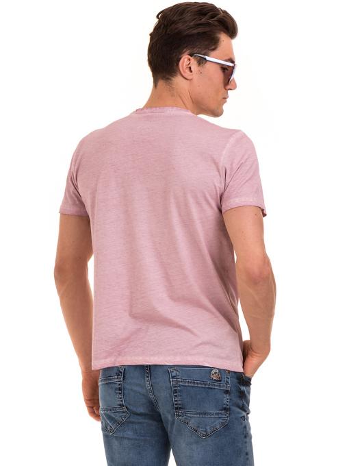 Мъжка блуза с V-образно деколте BLUE PETROL 3120 - розова B