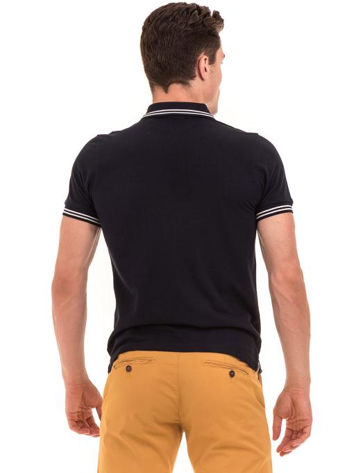 Мъжка блуза с яка  BLUE PETROL 3151 - тъмно синя B