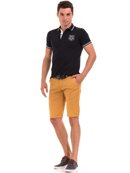 Мъжки спортни-елегантни бермуди ELECTRA 11101 - цвят горчица C1