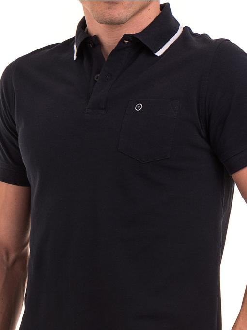 Мъжка блуза с яка  BLUE PETROL 3152 - тъмно синя D
