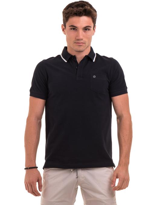 Мъжка блуза с яка  BLUE PETROL 3152 - тъмно синя
