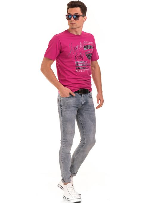 Мъжка тениска с обло деколте и щампа BLUE PETROL 5053 - тъмно розова C