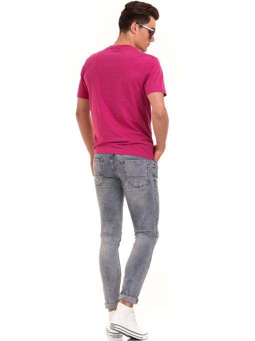 Мъжка тениска с обло деколте и щампа BLUE PETROL 5053 - тъмно розова E