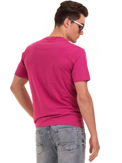 Мъжка тениска с обло деколте и щампа BLUE PETROL 5053 - тъмно розова B
