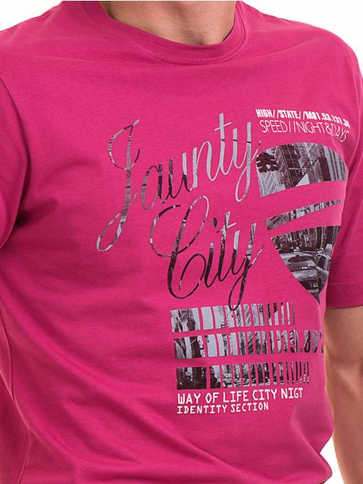 Мъжка тениска с обло деколте и щампа BLUE PETROL 5053 - тъмно розова D
