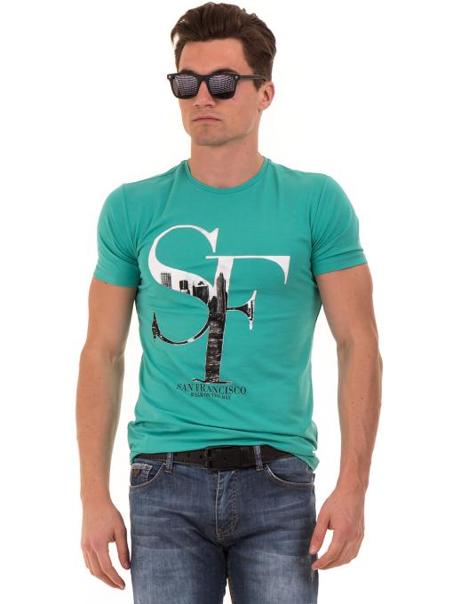 Мъжка блуза с обло деколте MCL B22614 - големи размери - зелена