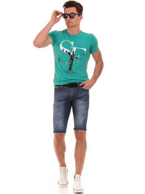 Мъжка блуза с обло деколте MCL B22614 - големи размери - зелена C