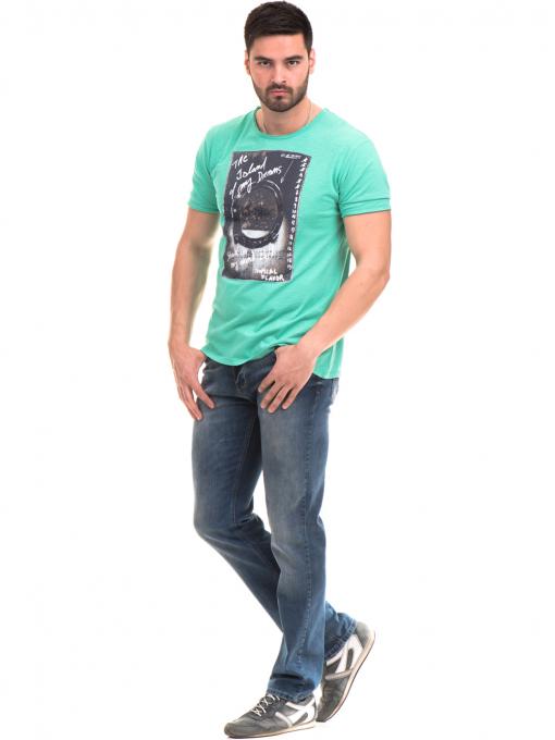 Мъжка памучна тениска с щампа MCL 23837 - зелена C