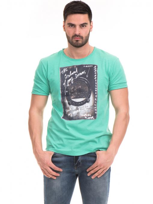 Мъжка памучна тениска с щампа MCL 23837 - зелена