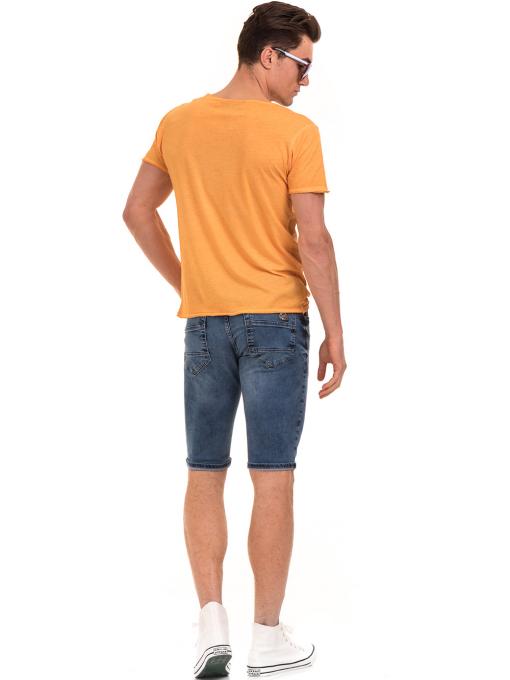 Мъжка памучна тениска с щампа MCL 23847 - оранжева E