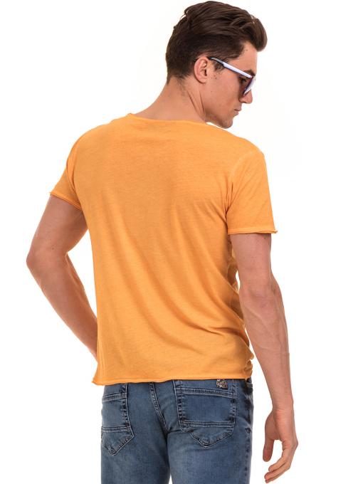 Мъжка памучна тениска с щампа MCL 23847 - оранжева B