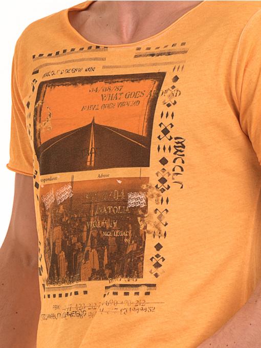 Мъжка памучна тениска с щампа MCL 23847 - оранжева D
