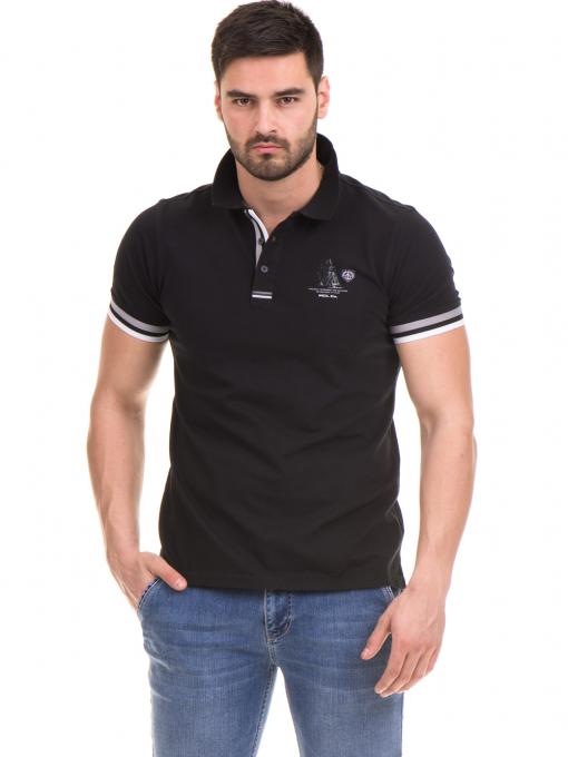 Мъжка блуза с къс ръкав MCL 24532 - черна