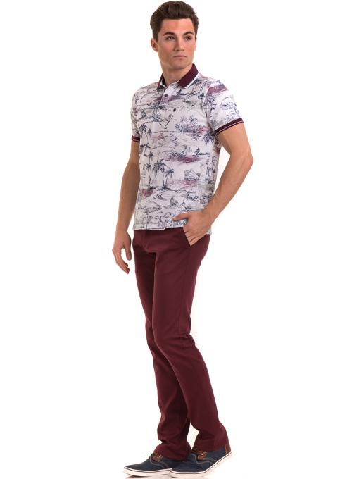 Мъжка блуза с къс ръкав и яка MCL B24866 - бяла - големи размери C