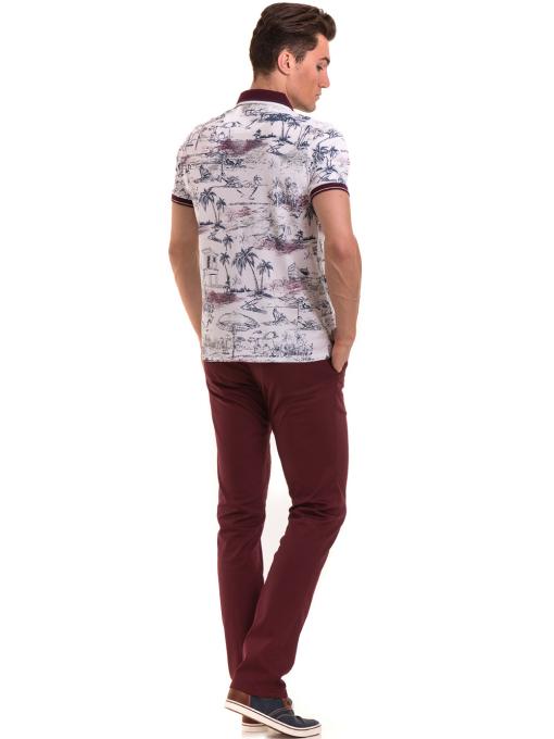Мъжка блуза с къс ръкав и яка MCL B24866 - бяла - големи размери E