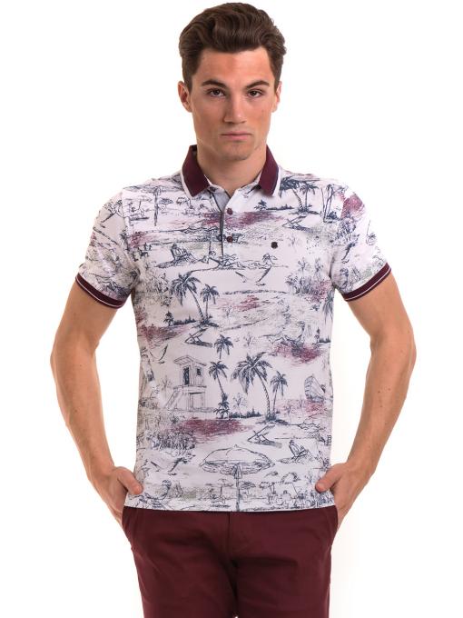 Мъжка блуза с къс ръкав и яка MCL B24866 - бяла - големи размери