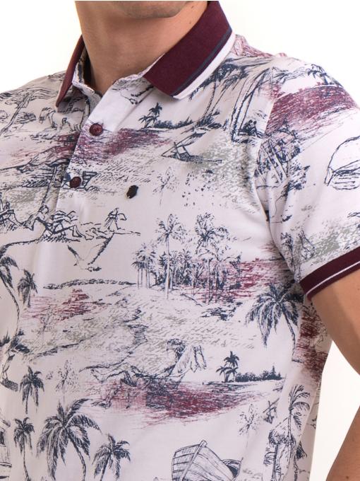 Мъжка блуза с къс ръкав и яка MCL B24866 - бяла - големи размери D