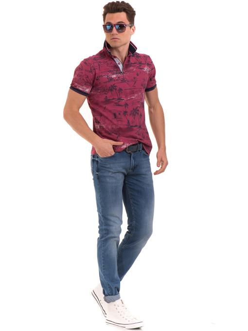 Мъжка блуза с къс ръкав и яка MCL B24866 - тъмно розова - големи размери C