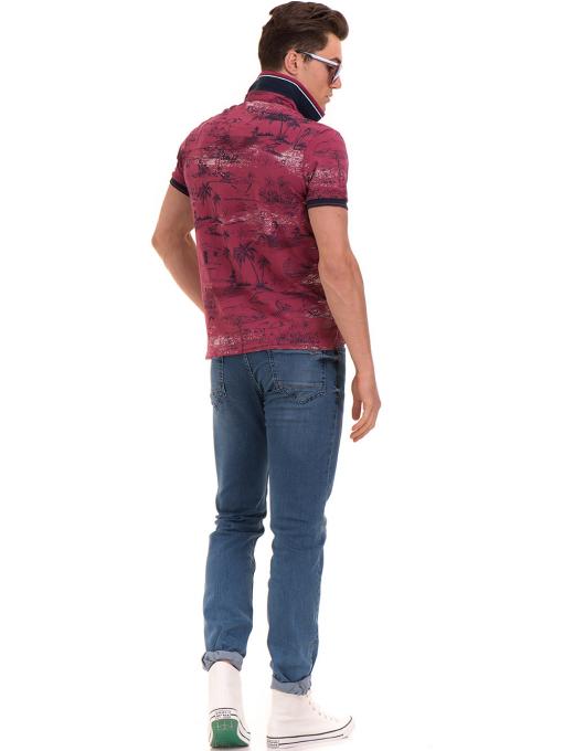 Мъжка блуза с къс ръкав и яка MCL B24866 - тъмно розова - големи размери E