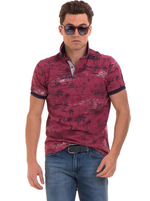 Мъжка блуза с къс ръкав и яка MCL B24866 - тъмно розова - големи размери