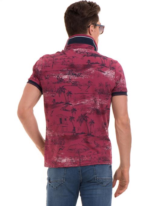 Мъжка блуза с къс ръкав и яка MCL B24866 - тъмно розова - големи размери B