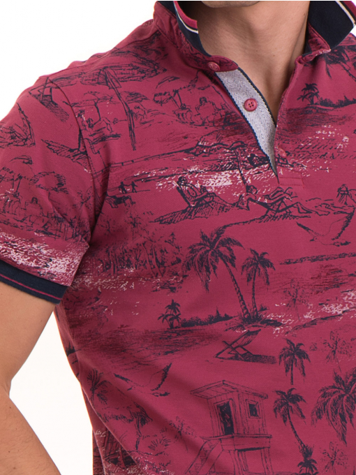 Мъжка блуза с къс ръкав и яка MCL B24866 - тъмно розова - големи размери D