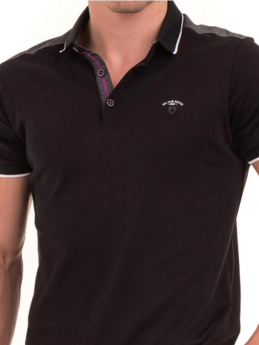 Мъжка блуза с яка MCL 28883 - черна D