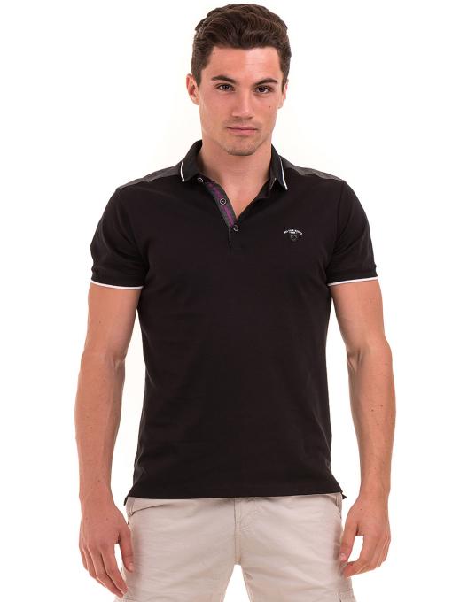 Мъжка блуза с яка MCL 28883 - черна