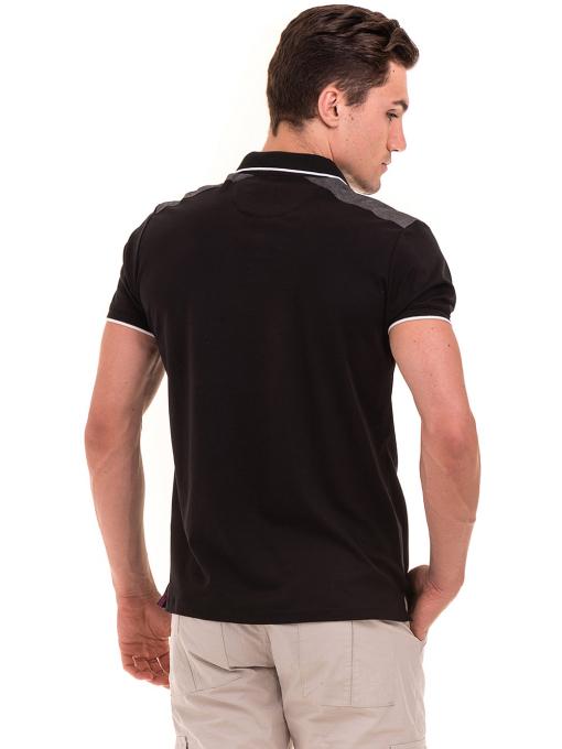 Мъжка блуза с яка MCL 28883 - черна B