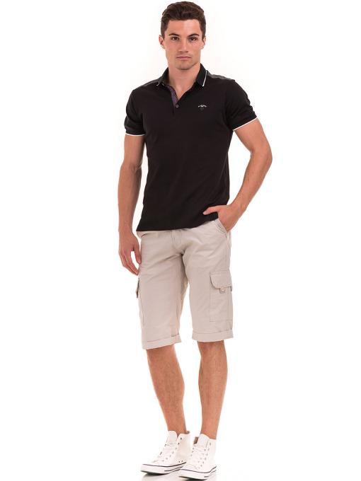 Мъжка блуза с яка MCL 28883 - черна C