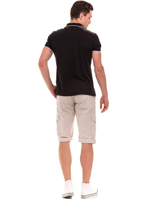 Мъжка блуза с яка MCL 28883 - черна E