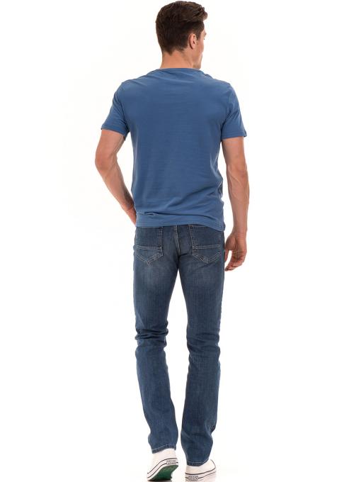 Мъжка памучна тениска с къс ръкав RELAX 26060 - синя E