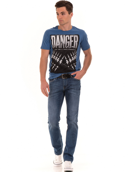 Мъжка памучна тениска с къс ръкав RELAX 26060 - синя C
