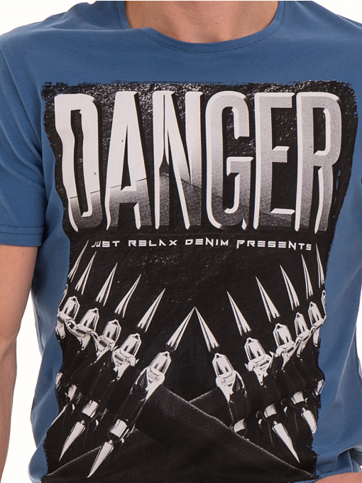 Мъжка памучна тениска с къс ръкав RELAX 26060 - синя D