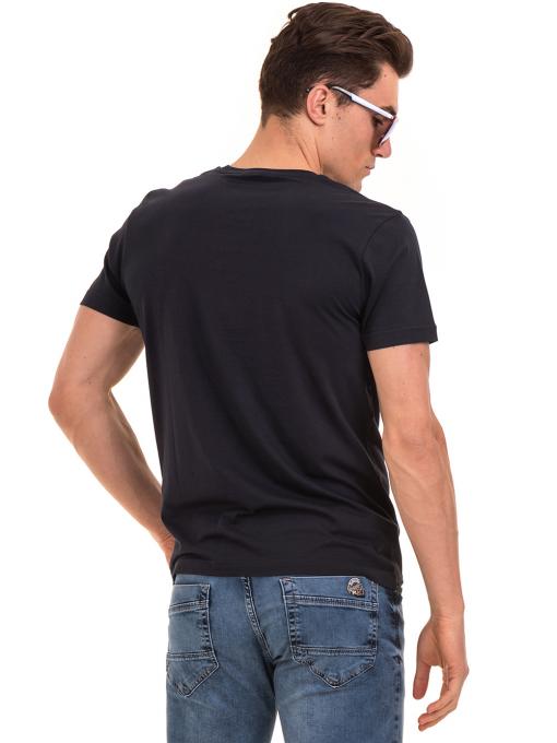 Мъжка тениска с щампа и надпис VIGOSS 60020 - тъмно синя B