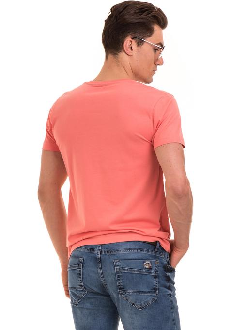 Мъжка тениска с щампа и надпис VIGOSS 60020 - цвят корал B
