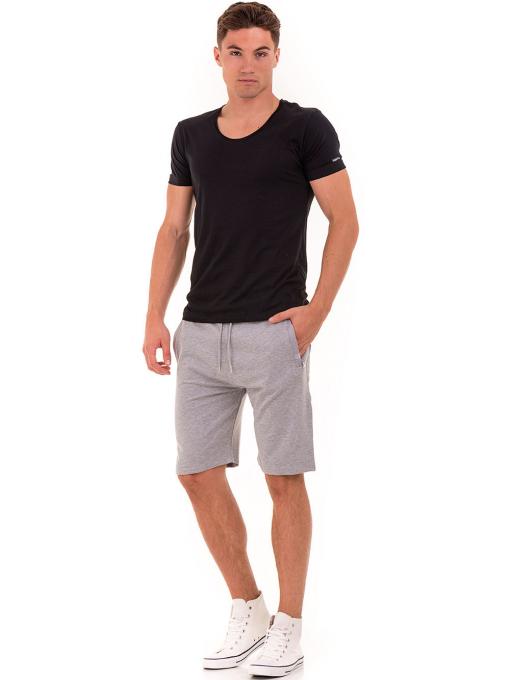 Мъжка вталена тениска VIGOSS 60028 - черна C1