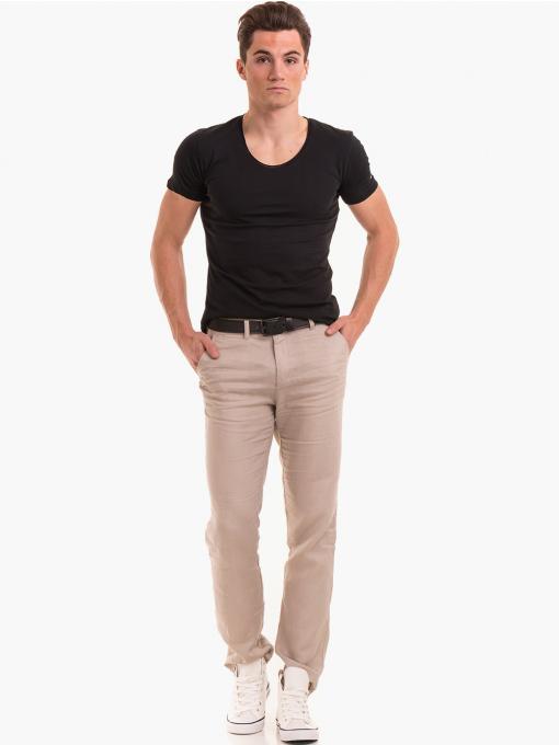 Класически мъжки ленен панталон XINT 484 - светло бежов C2