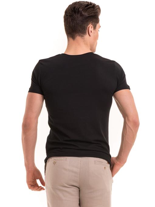 Мъжка вталена тениска VIGOSS 60028 - черна B