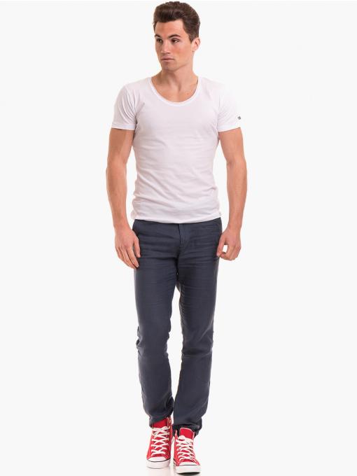 Класически мъжки ленен панталон XINT 484 - син C1