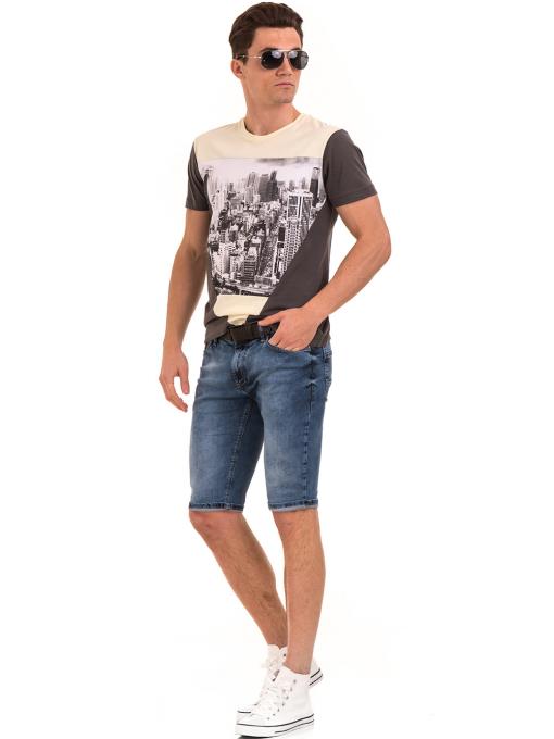 Мъжка блуза с обло деколте VIGOSS 60035 - цвят антрацит C